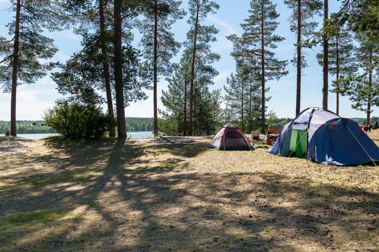 Flera tält vid stranden på First Camp Arcus-Luleå.