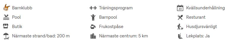 symboler som visar tillgångar och faciliteter på destinationer